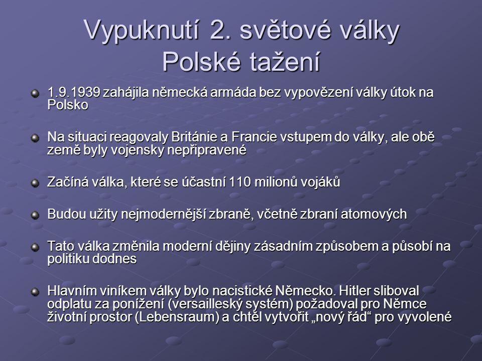 Vypuknutí 2. světové války Polské tažení