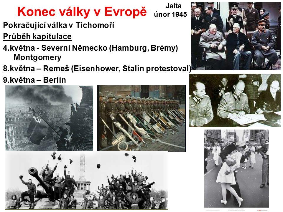 Konec války v Evropě Pokračující válka v Tichomoří Průběh kapitulace