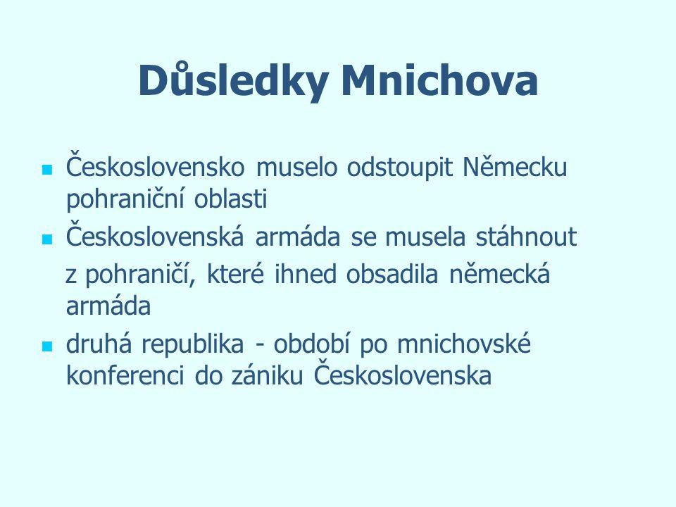 Důsledky Mnichova Československo muselo odstoupit Německu pohraniční oblasti. Československá armáda se musela stáhnout.