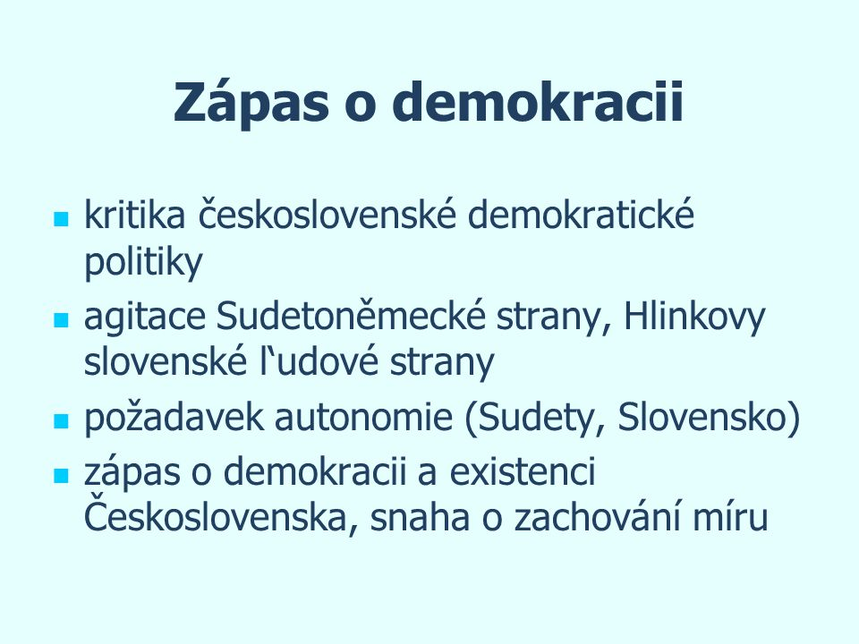 Zápas o demokracii kritika československé demokratické politiky
