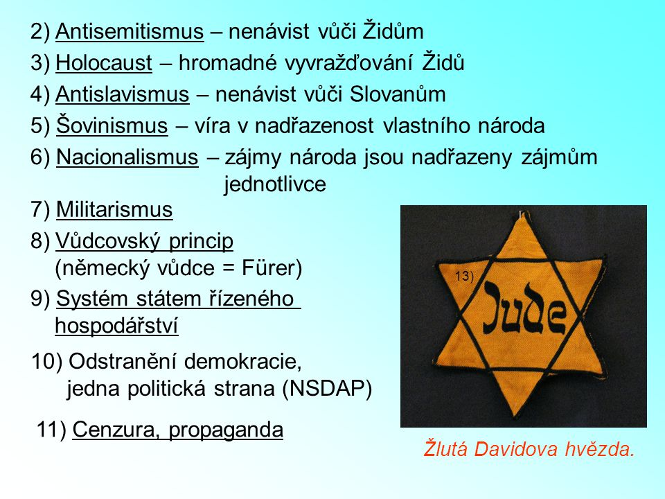 2) Antisemitismus – nenávist vůči Židům