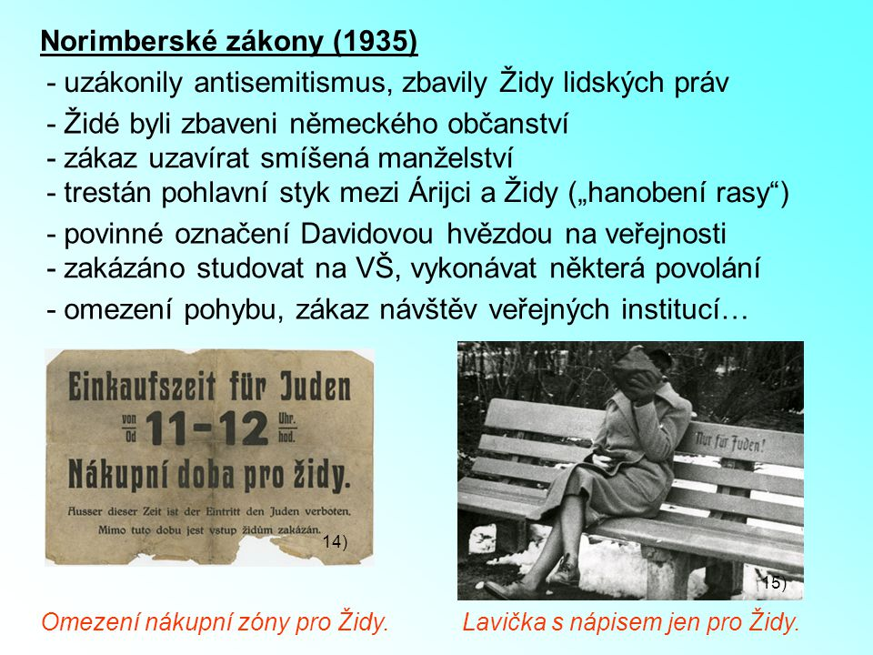 - uzákonily antisemitismus, zbavily Židy lidských práv