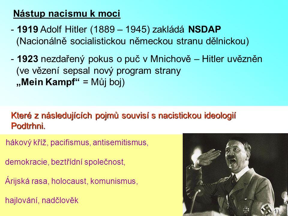 1919 Adolf Hitler (1889 – 1945) zakládá NSDAP