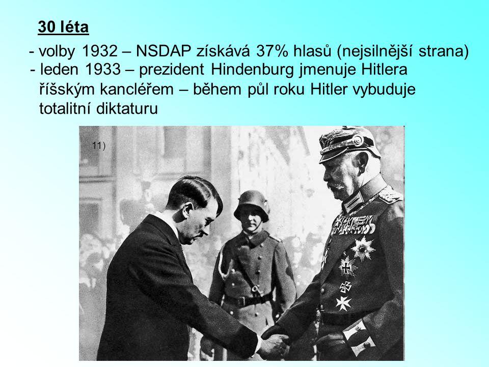 - volby 1932 – NSDAP získává 37% hlasů (nejsilnější strana)