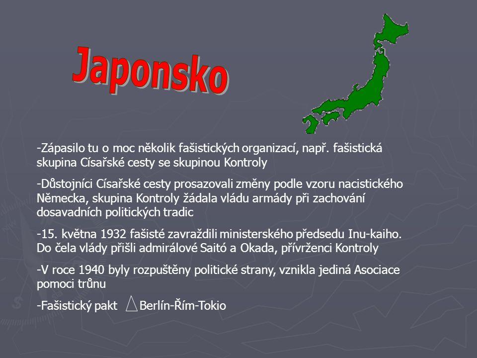 Japonsko Zápasilo tu o moc několik fašistických organizací, např. fašistická skupina Císařské cesty se skupinou Kontroly.