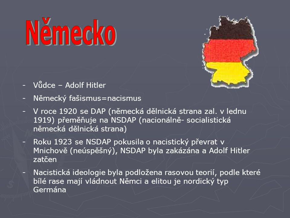 Německo Vůdce – Adolf Hitler Německý fašismus=nacismus