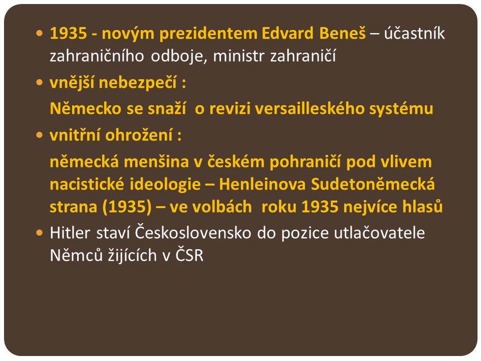 1935 - novým prezidentem Edvard Beneš – účastník zahraničního odboje, ministr zahraničí