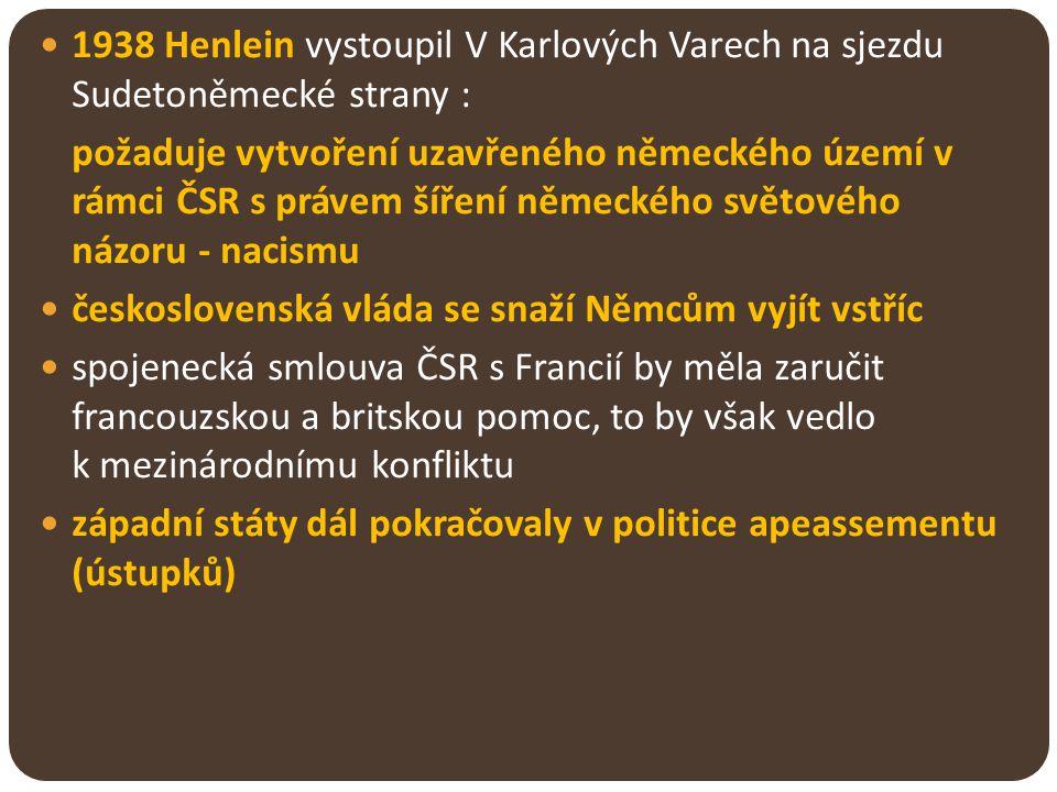 1938 Henlein vystoupil V Karlových Varech na sjezdu Sudetoněmecké strany :