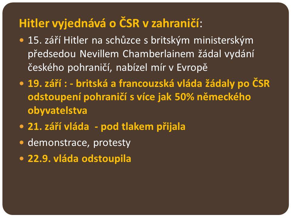Hitler vyjednává o ČSR v zahraničí: