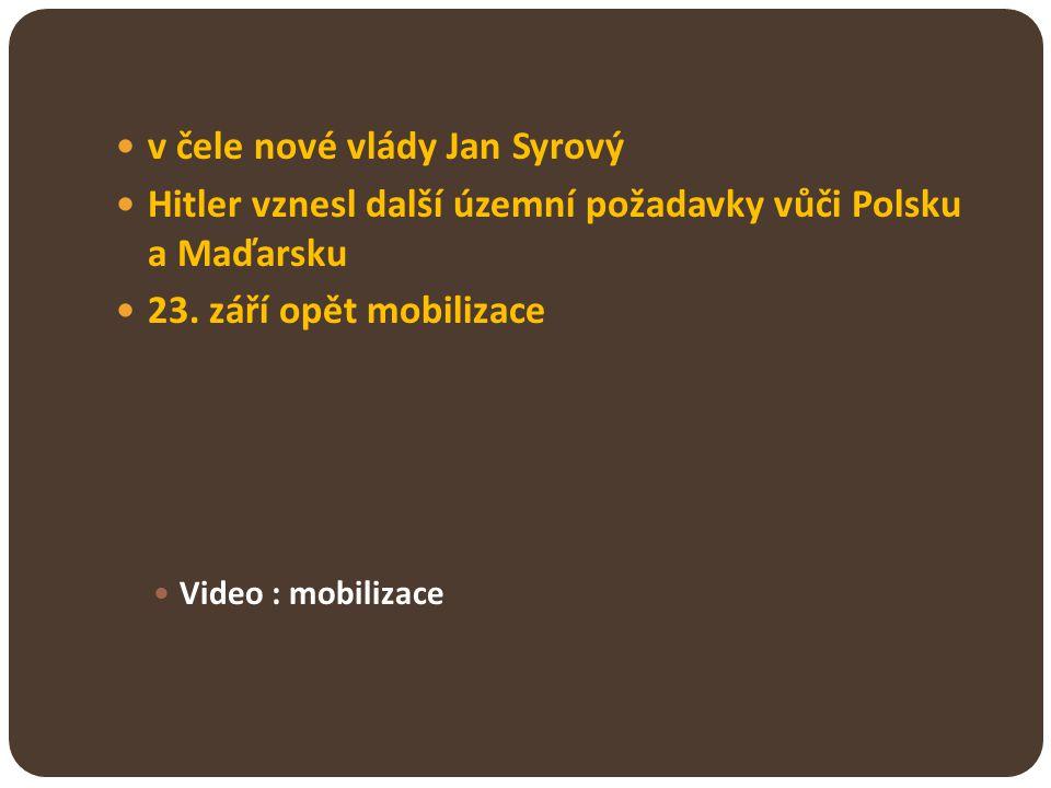 v čele nové vlády Jan Syrový