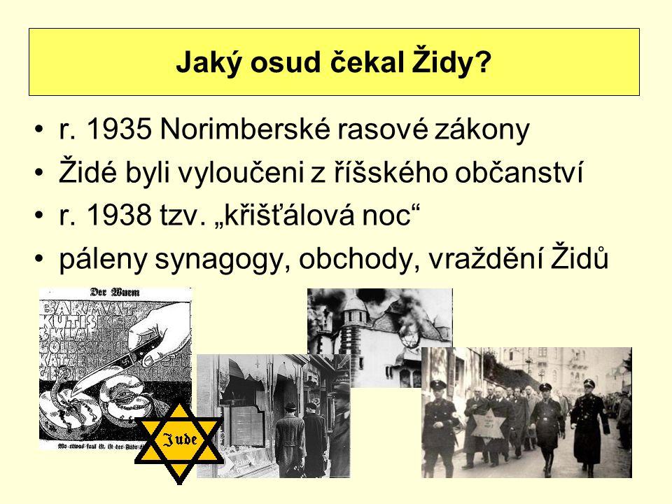 Jaký osud čekal Židy r. 1935 Norimberské rasové zákony. Židé byli vyloučeni z říšského občanství.