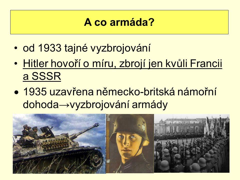 A co armáda od 1933 tajné vyzbrojování. Hitler hovoří o míru, zbrojí jen kvůli Francii a SSSR.