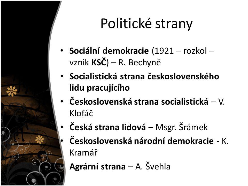 Politické strany Sociální demokracie (1921 – rozkol – vznik KSČ) – R. Bechyně. Socialistická strana československého lidu pracujícího.