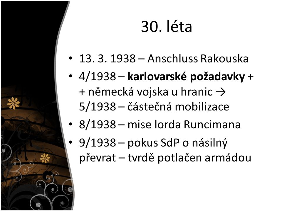 30. léta 13. 3. 1938 – Anschluss Rakouska
