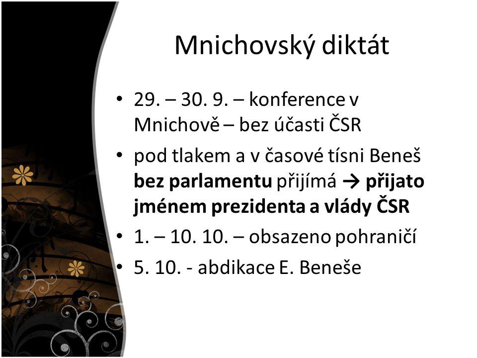 Mnichovský diktát 29. – 30. 9. – konference v Mnichově – bez účasti ČSR.