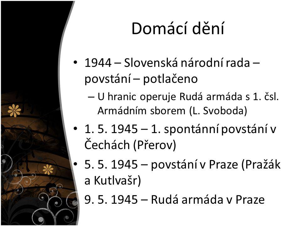 Domácí dění 1944 – Slovenská národní rada – povstání – potlačeno