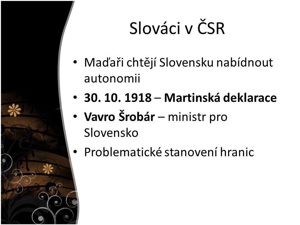 Slováci v ČSR Maďaři chtějí Slovensku nabídnout autonomii