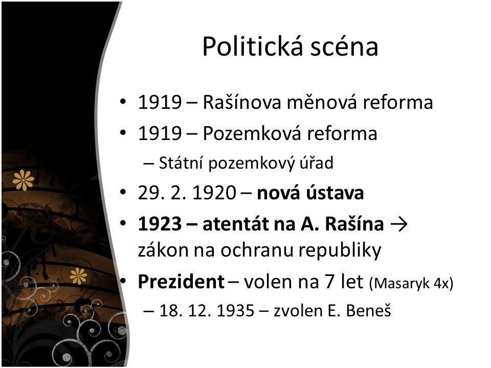 Politická scéna 1919 – Rašínova měnová reforma