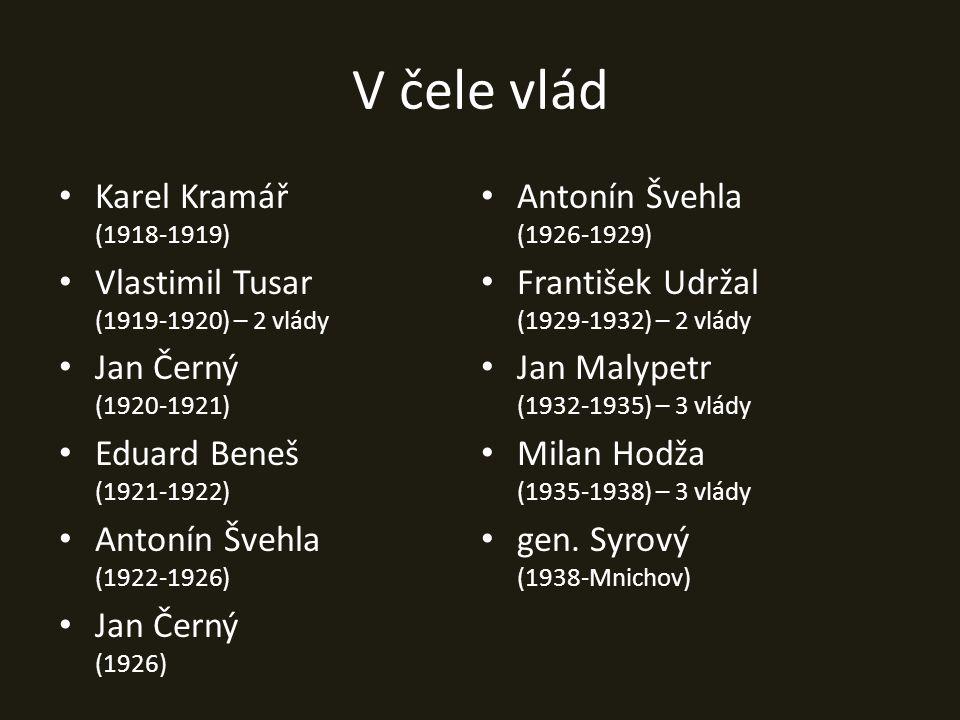 V čele vlád Karel Kramář (1918-1919) Antonín Švehla (1926-1929)