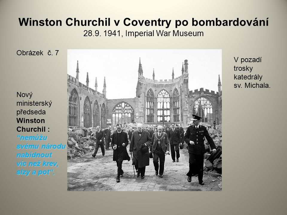Winston Churchil v Coventry po bombardování 28. 9