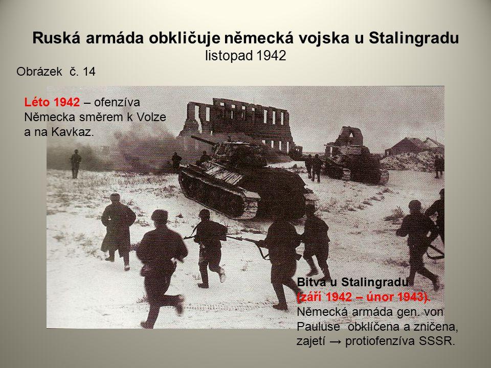 Ruská armáda obkličuje německá vojska u Stalingradu listopad 1942