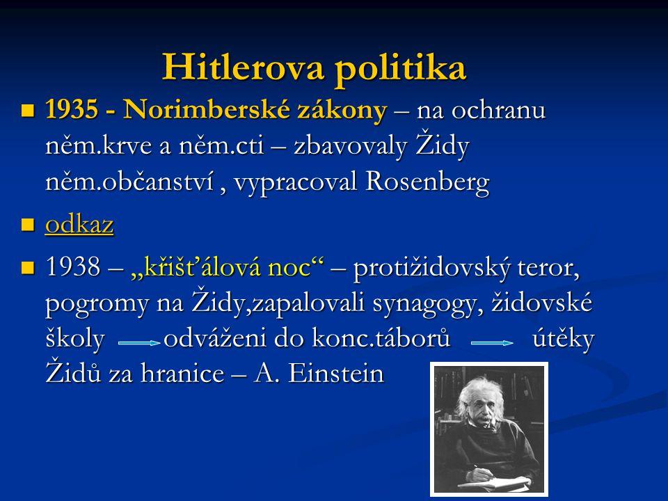 Hitlerova politika 1935 - Norimberské zákony – na ochranu něm.krve a něm.cti – zbavovaly Židy něm.občanství , vypracoval Rosenberg.