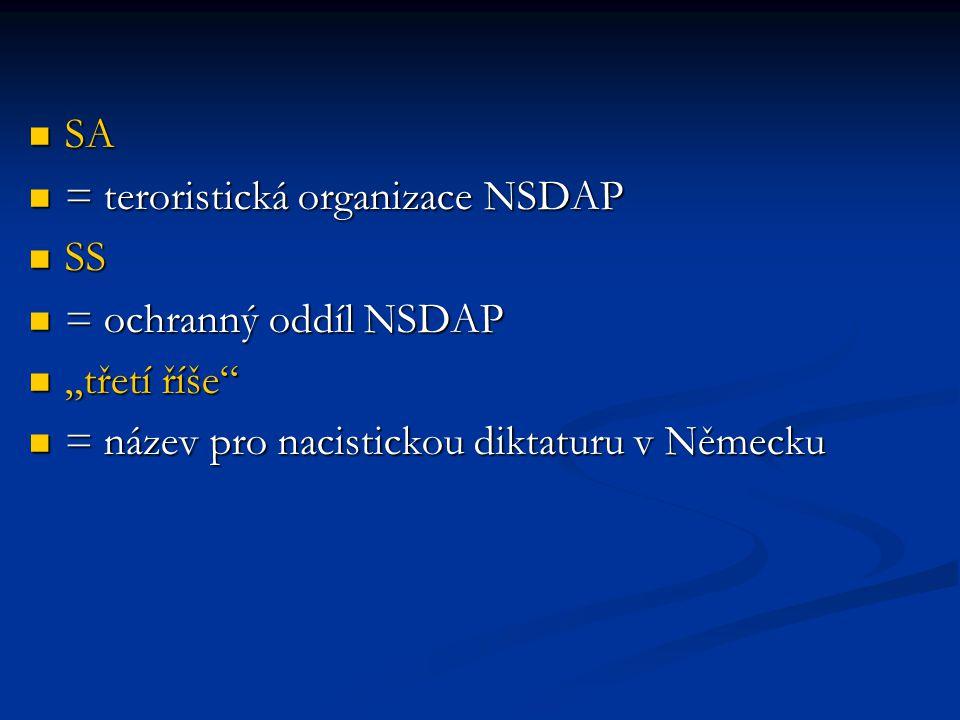 SA = teroristická organizace NSDAP. SS. = ochranný oddíl NSDAP.