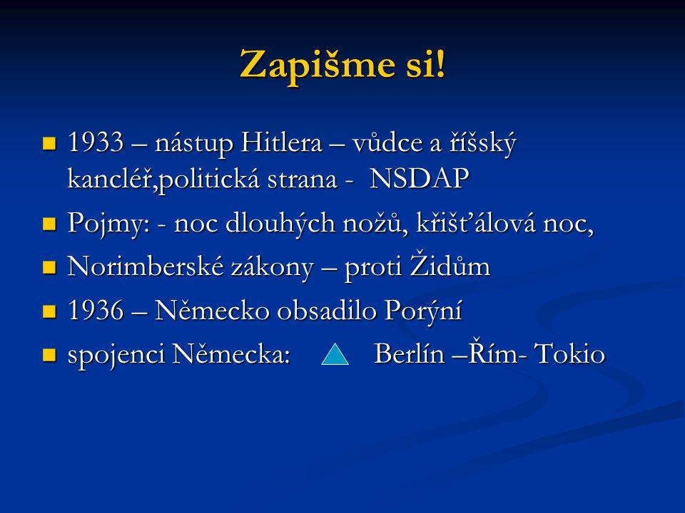 Zapišme si! 1933 – nástup Hitlera – vůdce a říšský kancléř,politická strana - NSDAP. Pojmy: - noc dlouhých nožů, křišťálová noc,