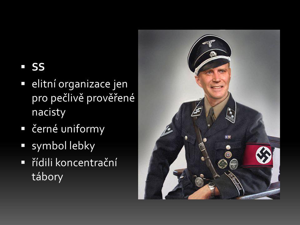 SS elitní organizace jen pro pečlivě prověřené nacisty.