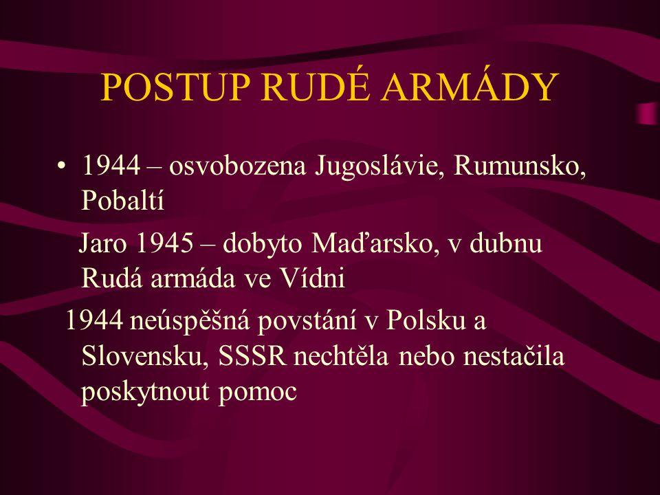 POSTUP RUDÉ ARMÁDY 1944 – osvobozena Jugoslávie, Rumunsko, Pobaltí