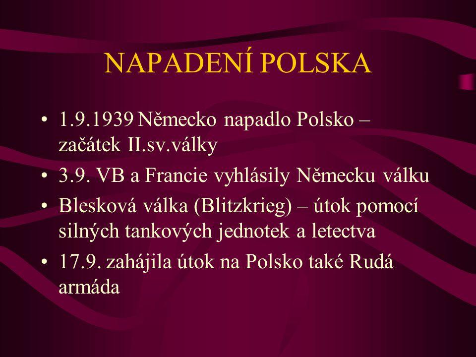 NAPADENÍ POLSKA 1.9.1939 Německo napadlo Polsko – začátek II.sv.války