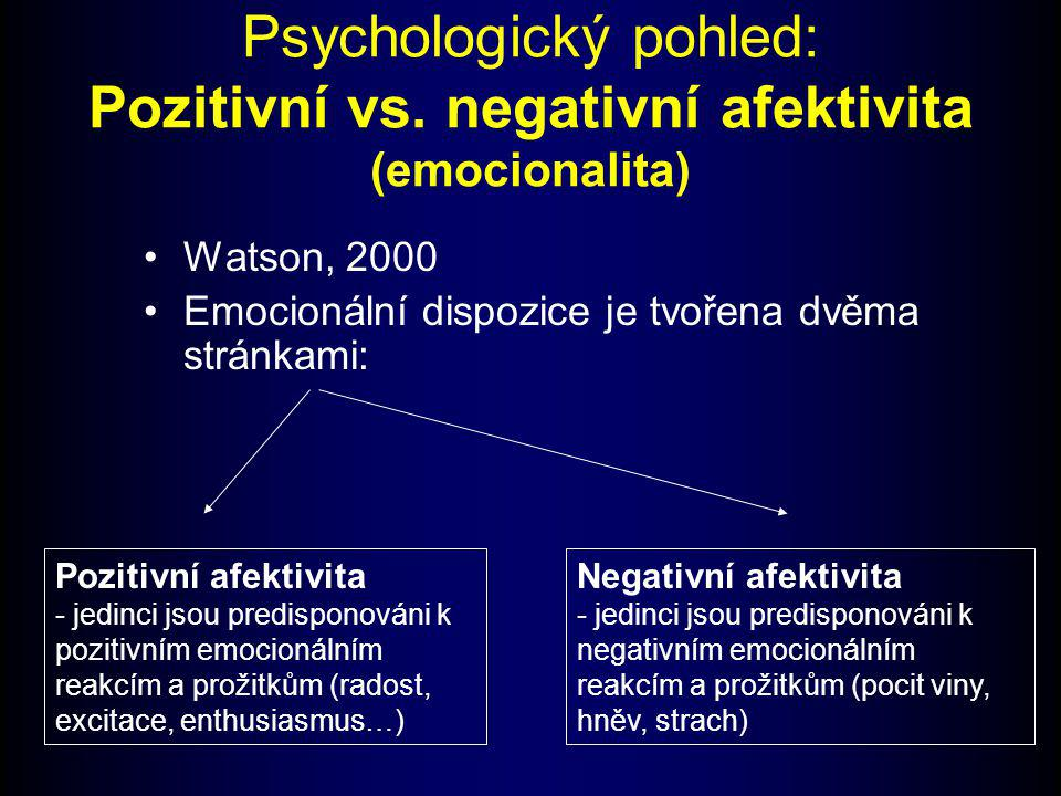 Psychologický pohled: Pozitivní vs. negativní afektivita (emocionalita)