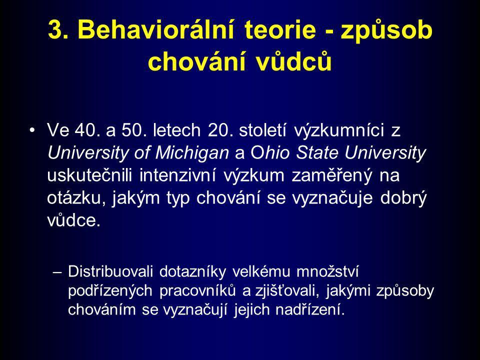 3. Behaviorální teorie - způsob chování vůdců