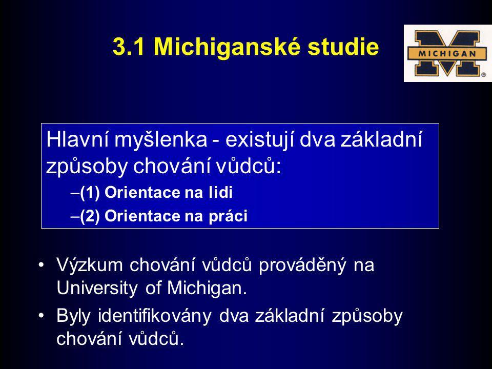 3.1 Michiganské studie Hlavní myšlenka - existují dva základní způsoby chování vůdců: (1) Orientace na lidi.