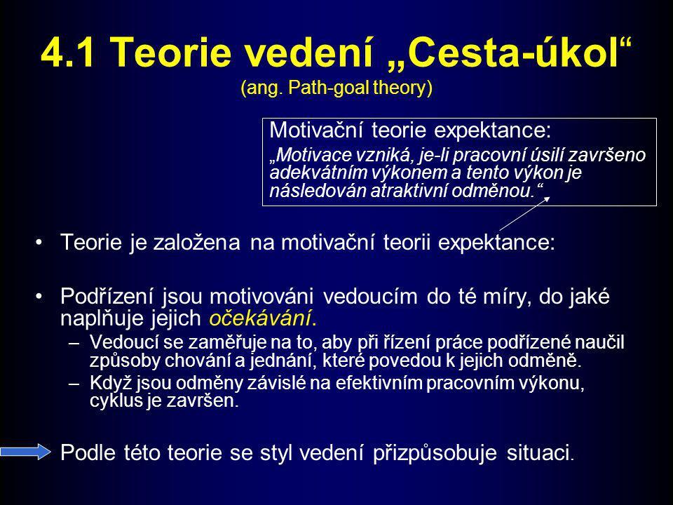 "4.1 Teorie vedení ""Cesta-úkol (ang. Path-goal theory)"