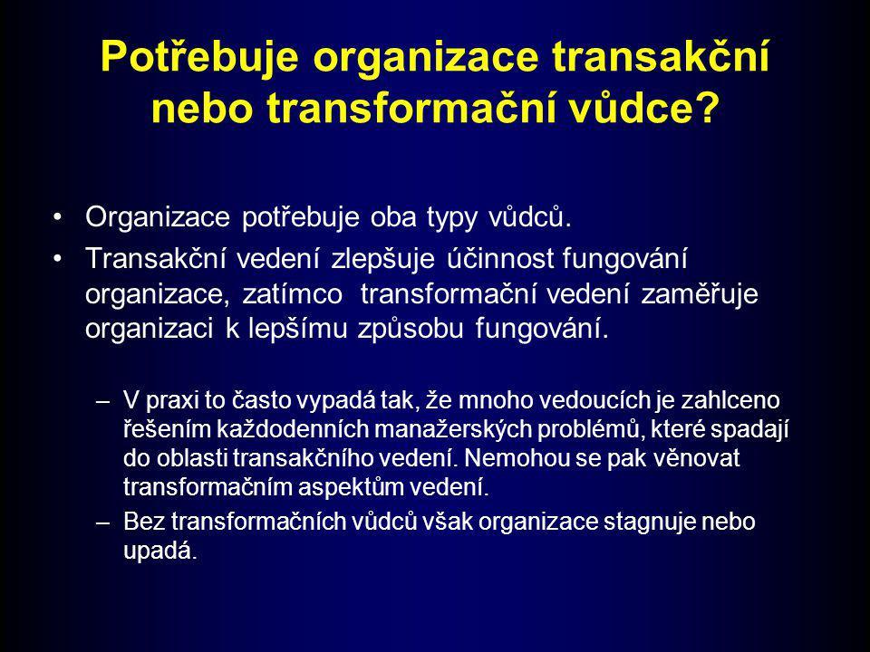 Potřebuje organizace transakční nebo transformační vůdce