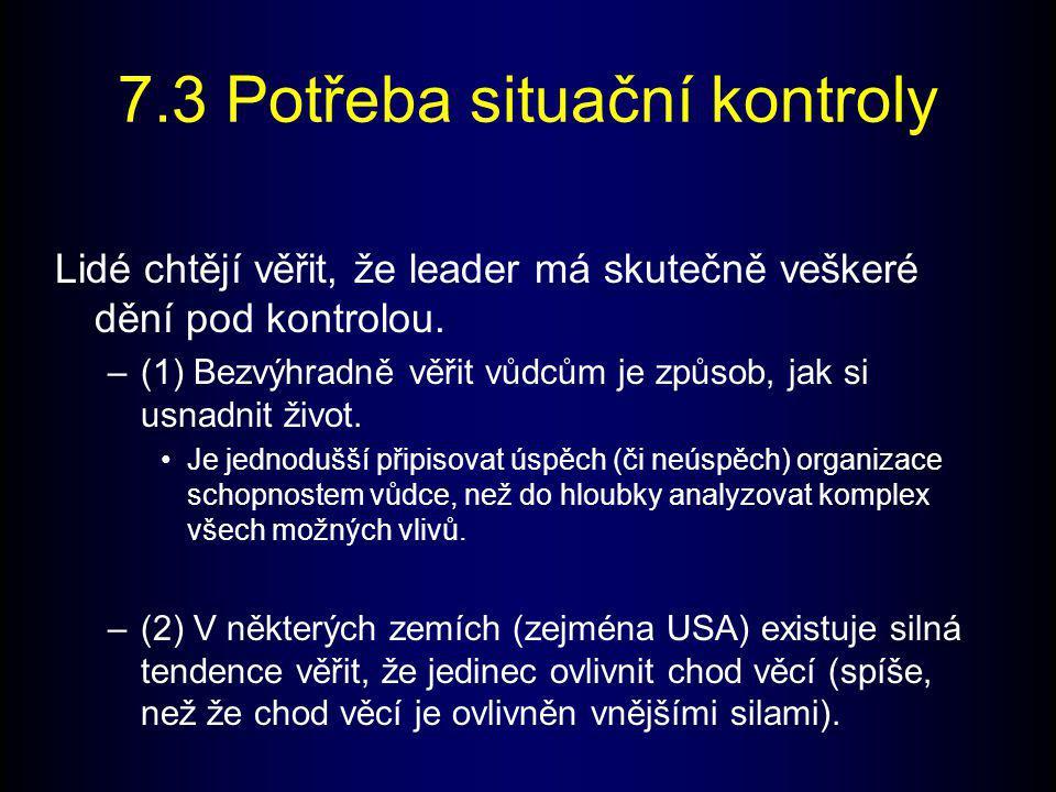 7.3 Potřeba situační kontroly