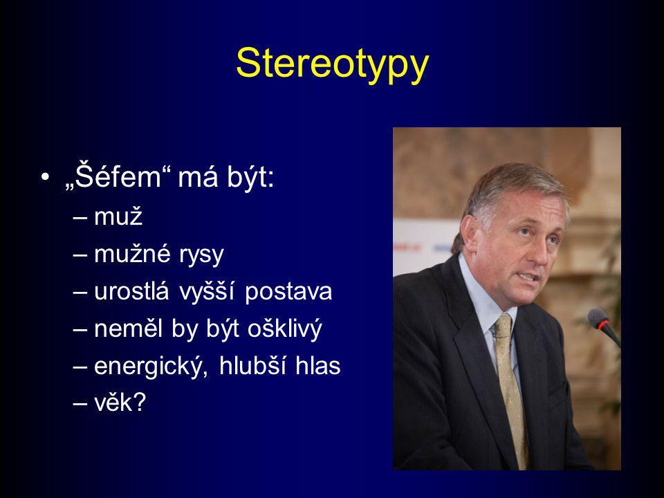 """Stereotypy """"Šéfem má být: muž mužné rysy urostlá vyšší postava"""