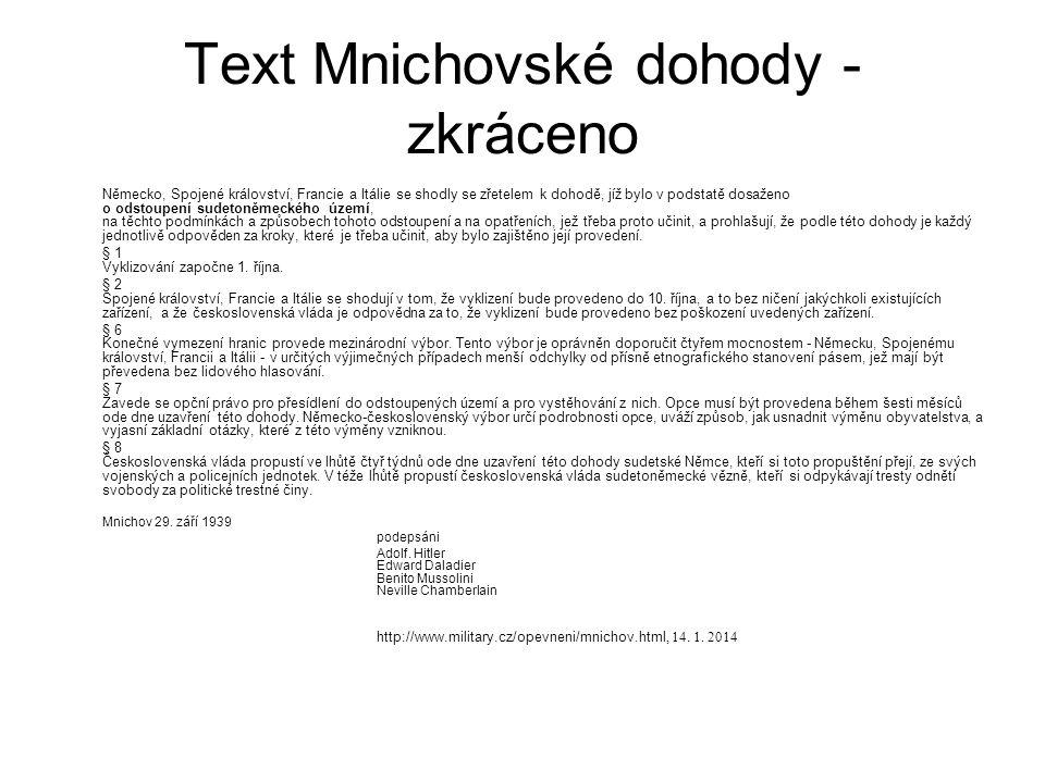 Text Mnichovské dohody - zkráceno