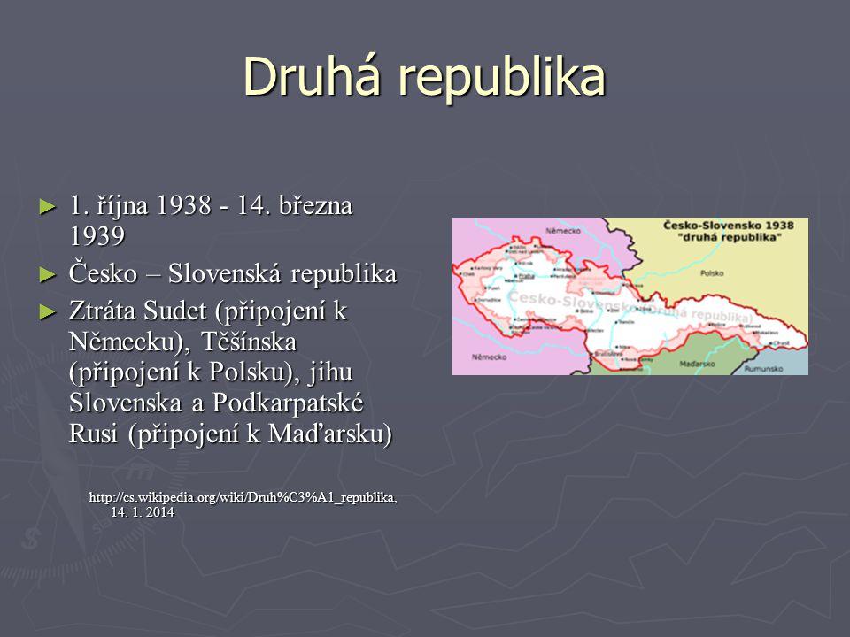 Druhá republika 1. října 1938 - 14. března 1939