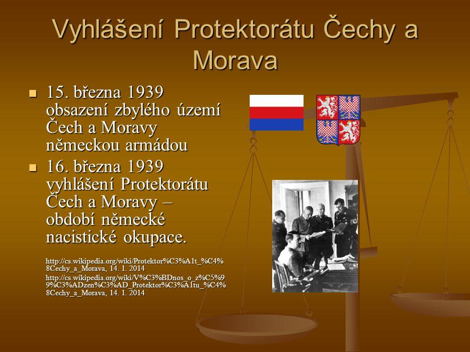 Vyhlášení Protektorátu Čechy a Morava