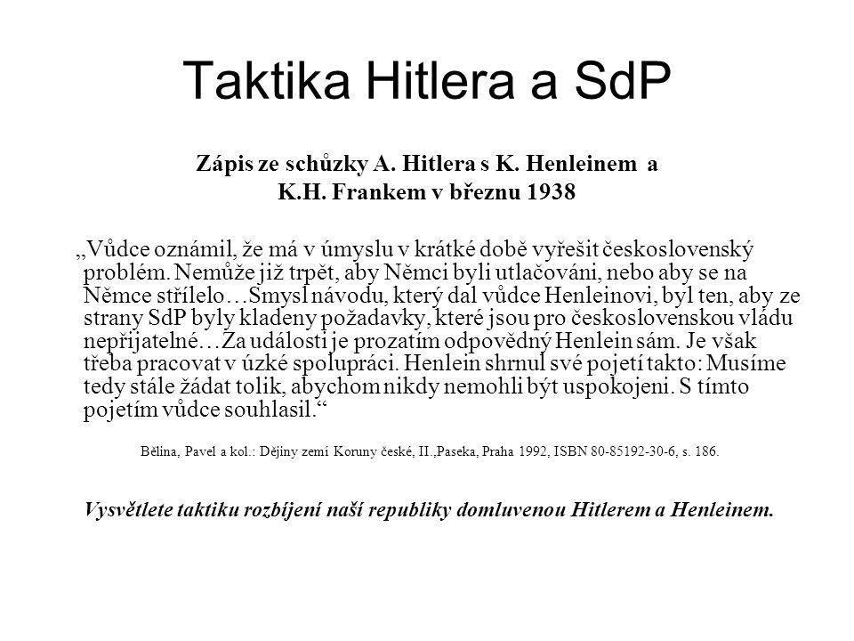 Zápis ze schůzky A. Hitlera s K. Henleinem a