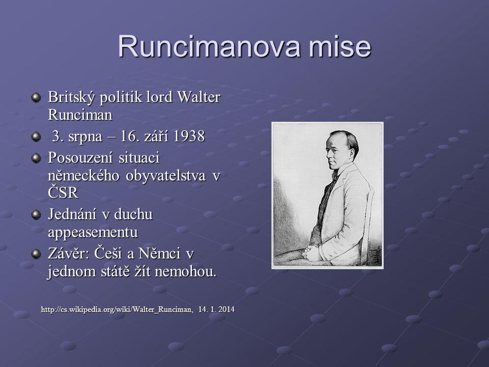 Runcimanova mise Britský politik lord Walter Runciman