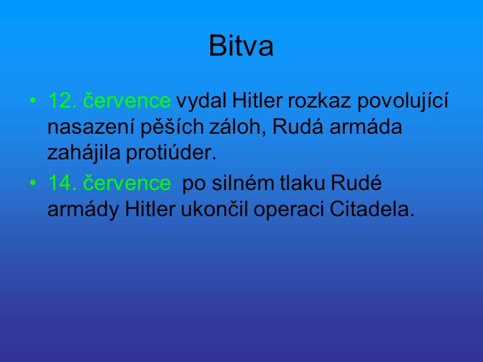 Bitva 12. července vydal Hitler rozkaz povolující nasazení pěších záloh, Rudá armáda zahájila protiúder.