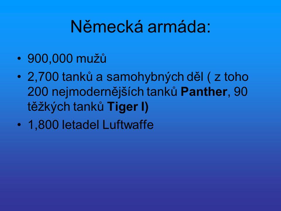 Německá armáda: 900,000 mužů. 2,700 tanků a samohybných děl ( z toho 200 nejmodernějších tanků Panther, 90 těžkých tanků Tiger I)
