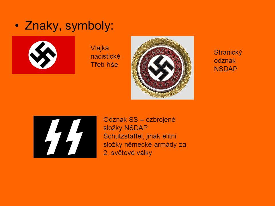 Znaky, symboly: Vlajka nacistické Třetí říše Stranický odznak NSDAP