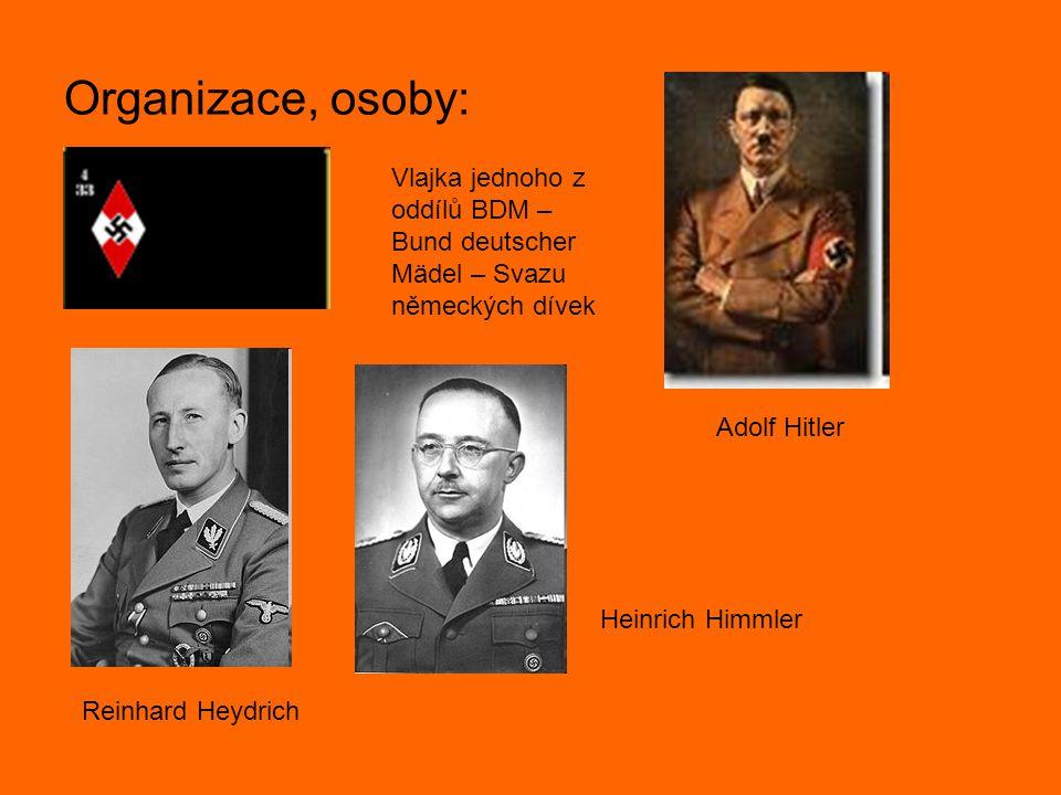 Organizace, osoby: Vlajka jednoho z oddílů BDM – Bund deutscher Mädel – Svazu německých dívek. Adolf Hitler.