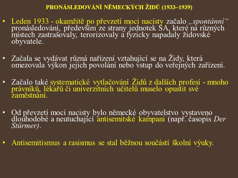 PRONÁSLEDOVÁNÍ NĚMECKÝCH ŽIDŮ (1933–1939)