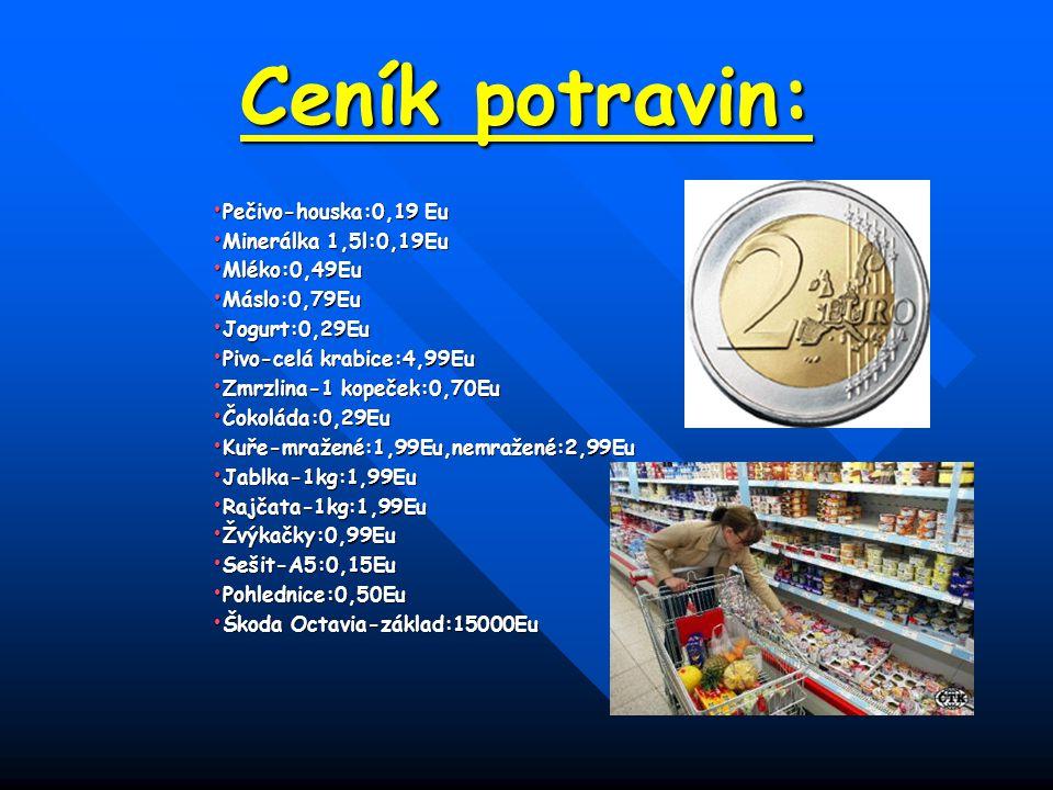 Ceník potravin: Pečivo-houska:0,19 Eu Minerálka 1,5l:0,19Eu