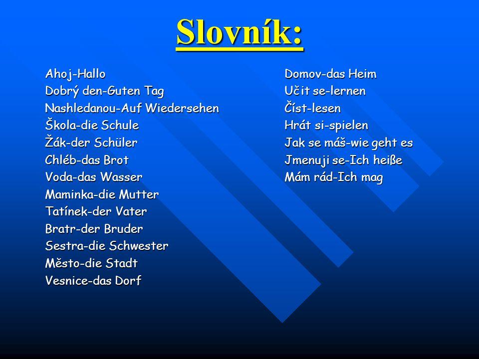 Slovník: Ahoj-Hallo Domov-das Heim Dobrý den-Guten Tag Učit se-lernen